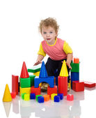 Little boy playing with building blocks. — Stock Photo