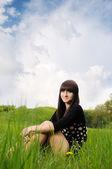 Girl on grass — Stock Photo