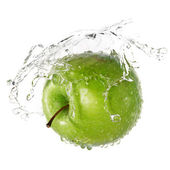 Green apple splash — Stock Photo