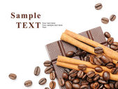 Coffee, cinnamon and chocolate — Stock Photo