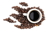Coffee mug coffee beans — Stock Photo