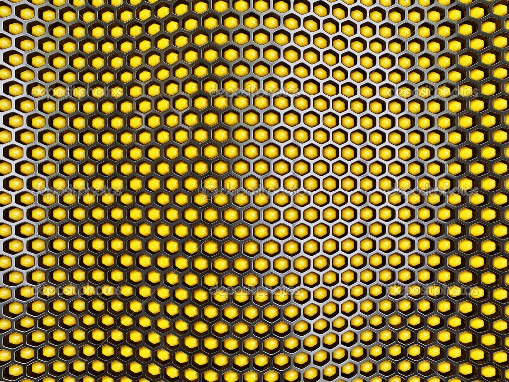 Yellow abstract background and black honeycomb. 3d illustration. — Stock Photo #10548623