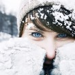 Beautiful girl with a blue eyes in the  winter forerst. — Stock Photo