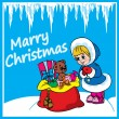 Christmas greeting card with gifts and girl — Imagen vectorial