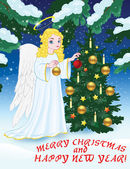 Christmas greetings with angel and Christmas tree — Vecteur