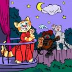 Three singing cats, vector drawing — Stock Vector