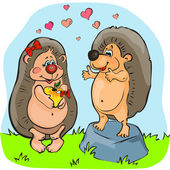 Two Valentine hedgehogs, vector drawing — Stockvektor