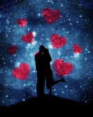 Lovers on the starry sky — Stock Photo