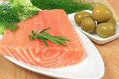 Salmon preparation — Stock Photo