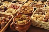Varieties of nuts: peanuts, hazelnuts, chestnuts, walnuts, pistachio and pecans. — Stock Photo