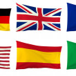 Flags of six nations - Germany, Great Britain, France, USA, Italy and Spain — Stock Photo