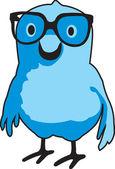 "Bluebert with glasses - ""Nerdbird"" — Stock Vector"
