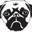Head of a pug — Stock Vector