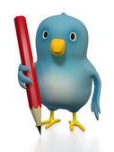 Bluebert with pencil — Stock Photo