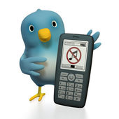 Bluebert with cellphone - sound off — Stock Photo