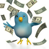 Bluebert with dollar bills flying around — Stock Photo