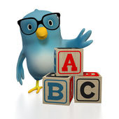 Bluebert with toy blocks ABC — Stock Photo
