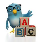Bluebert with toy blocks ABC — Stock Photo