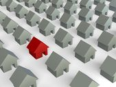 Red house between grey houses — Stock Photo