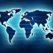 Stock Photo: World map with blue glow and binary numbers