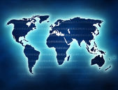 World map with blue glow and binary numbers — Stock Photo