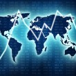 Stock Photo: World map with blue glow and stock market grafic