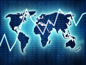 World map with blue glow and stock market grafic — Stock Photo