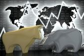 Bull and Bear (gold and silver) — Stock Photo