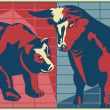 Bull and Bear - poster style — Stock Photo