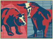 Byka i niedźwiedzia - plakat styl — Zdjęcie stockowe
