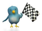 Bluebert with checkered flag — Stock Photo