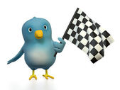 Bluebert with checkered flag — Stock Photo