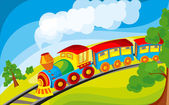 A locomotive traveling on a meadow — Stock Vector