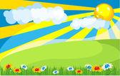 Sunny meadow — Stock Vector