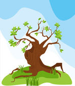 Tree in the meadow — Stock Vector