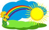 Rainbow after the rain — Stock Vector