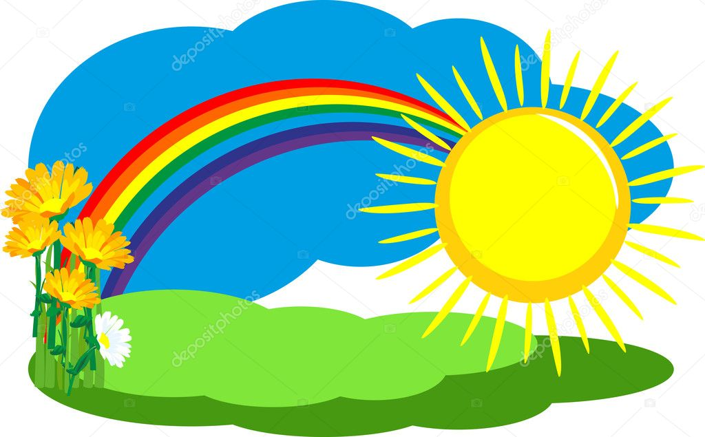 Summer day, the nature of the rainbow in the sky and the sun — Stock Vector #10669187