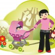 Royalty-Free Stock Vectorafbeeldingen: Woman with babystroller in park