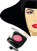 Face of a woman's eye shadow makeup — Stock Vector