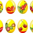Stock Vector: Collection of beauty easter eggs