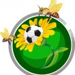 Soccer ball in the flowers — Stock Vector