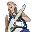 Laughing chain saw girl — Stock Photo #7988600