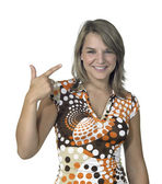 Blond girl showing two fingers — Stock Photo
