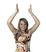 Blond girl clapping her hands over head — Stock Photo