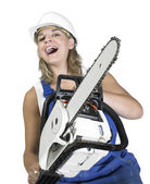 Laughing chain saw girl — Stock Photo
