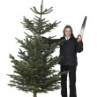 Woman and christmas tree — Stock Photo #8230216