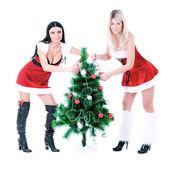 Pretty girls decorating Christmas tree — Stock Photo