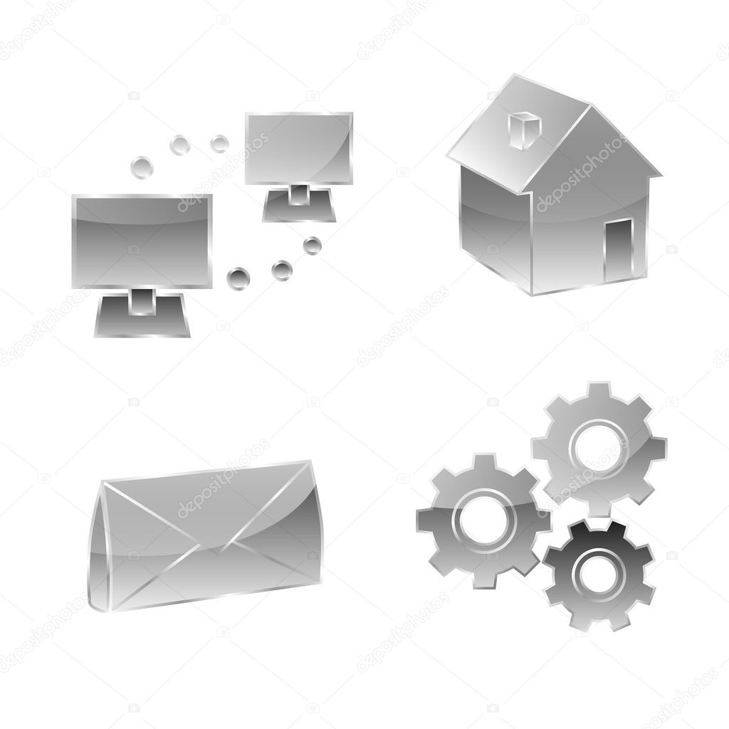 Set of four icons for website — Stock Vector #9259265