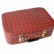Old red valise in hutch on white background — Stok fotoğraf