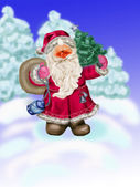 Santa Claus bears gifts — Foto Stock
